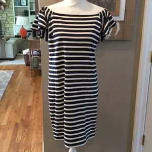 Lauren Ralph Lauren Navy Stripe Off Shoulder Dress